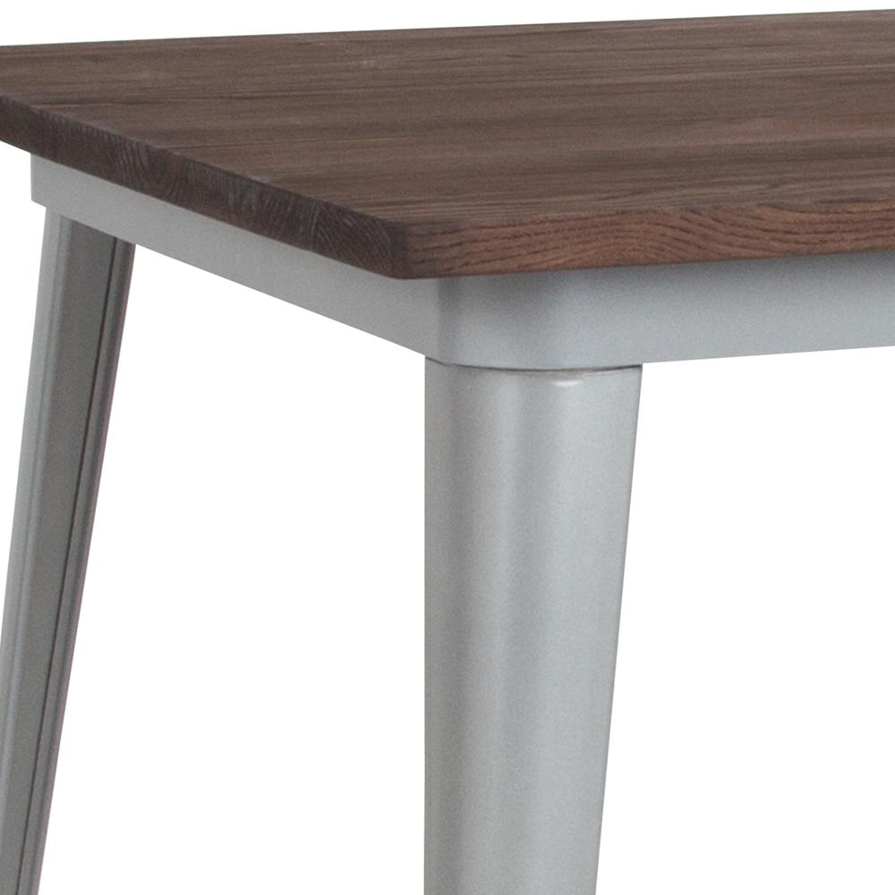 """31.5"""" Square Silver Metal Indoor Table with Walnut Rustic Wood Top. Picture 3"""
