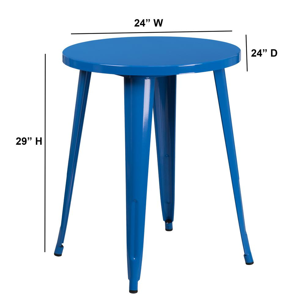 "Commercial Grade 24"" Round Blue Metal Indoor-Outdoor Table [CH-51080-29-BL-GG]. Picture 2"