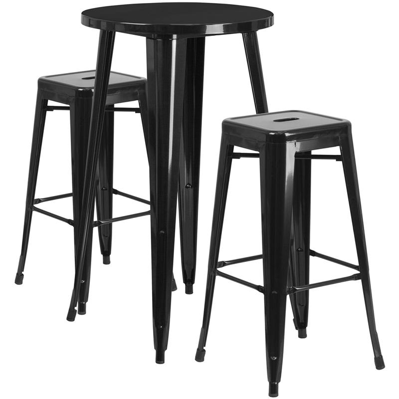 """Commercial Grade 24"""" Round Black Metal Indoor-Outdoor Bar Table Set with 2 Square Seat Backless Stools [CH-51080BH-2-30SQST-BK-GG]. Picture 1"""