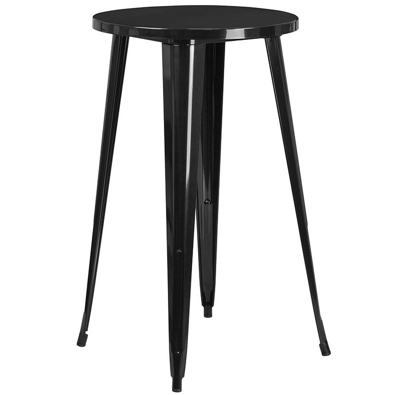 """Commercial Grade 24"""" Round Black Metal Indoor-Outdoor Bar Table Set with 2 Square Seat Backless Stools [CH-51080BH-2-30SQST-BK-GG]. Picture 2"""