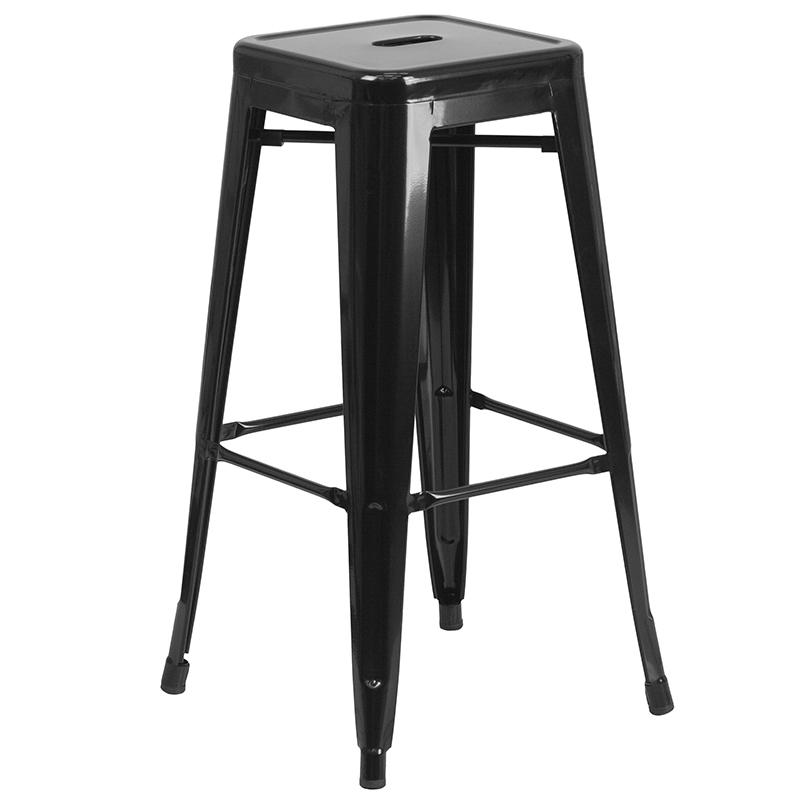 """Commercial Grade 24"""" Round Black Metal Indoor-Outdoor Bar Table Set with 2 Square Seat Backless Stools [CH-51080BH-2-30SQST-BK-GG]. Picture 3"""