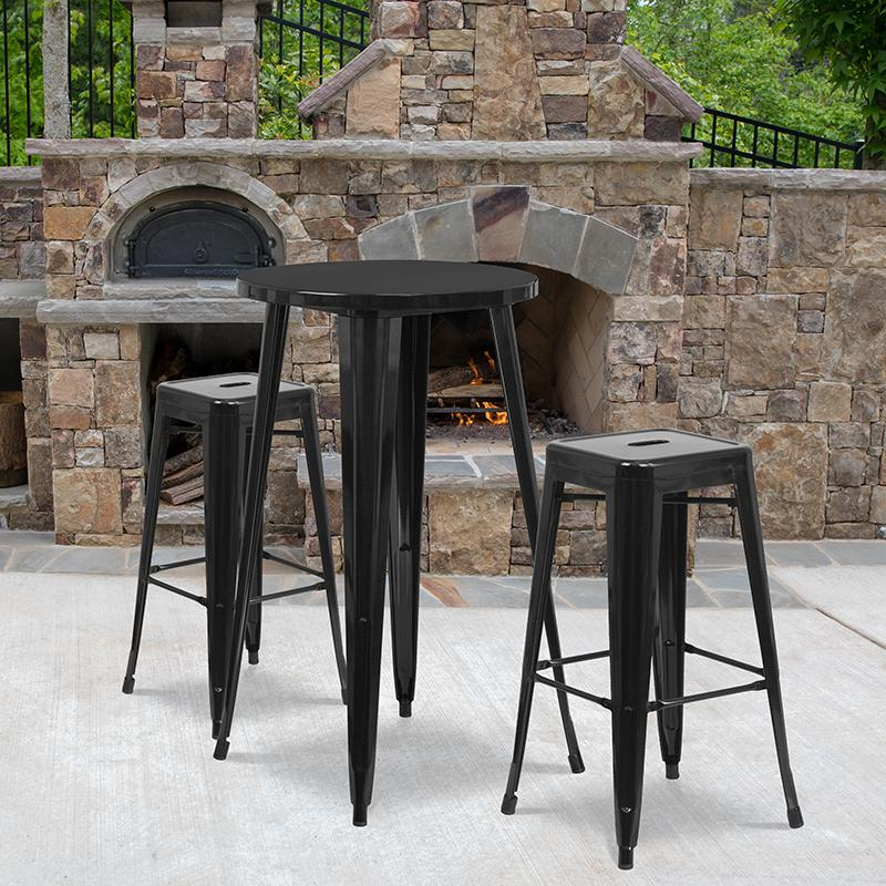 """Commercial Grade 24"""" Round Black Metal Indoor-Outdoor Bar Table Set with 2 Square Seat Backless Stools [CH-51080BH-2-30SQST-BK-GG]. Picture 4"""
