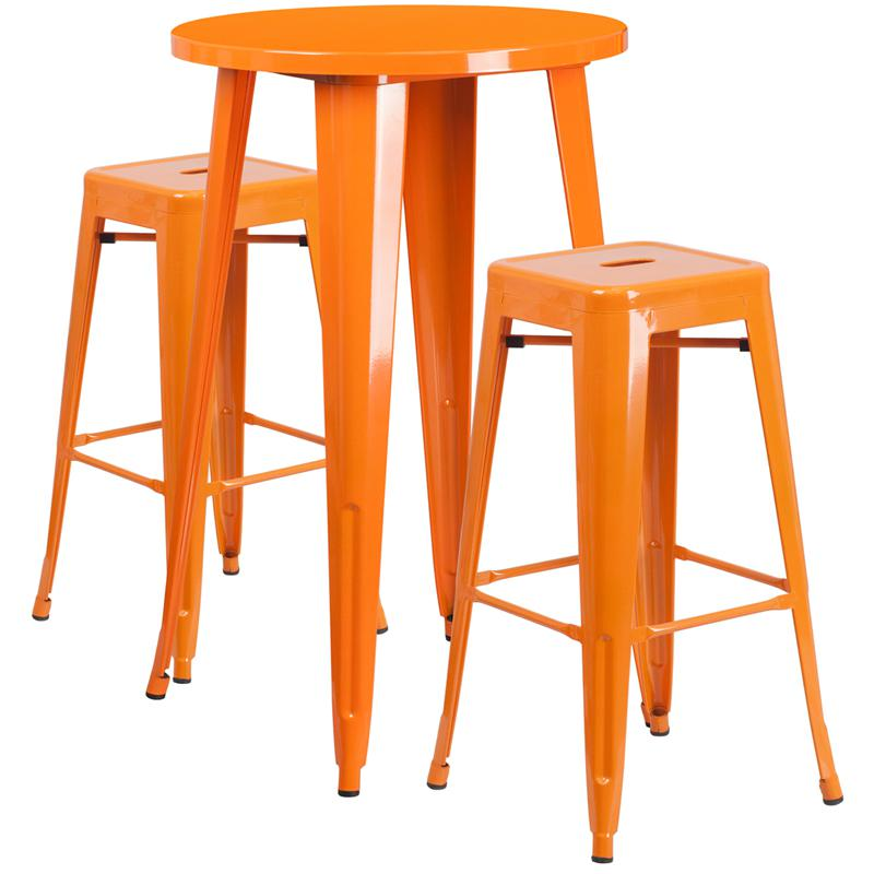 """Commercial Grade 24"""" Round Orange Metal Indoor-Outdoor Bar Table Set with 2 Square Seat Backless Stools [CH-51080BH-2-30SQST-OR-GG]. Picture 1"""