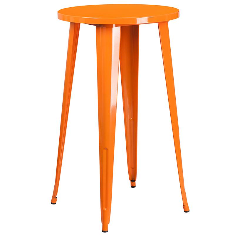 """Commercial Grade 24"""" Round Orange Metal Indoor-Outdoor Bar Table Set with 2 Square Seat Backless Stools [CH-51080BH-2-30SQST-OR-GG]. Picture 2"""