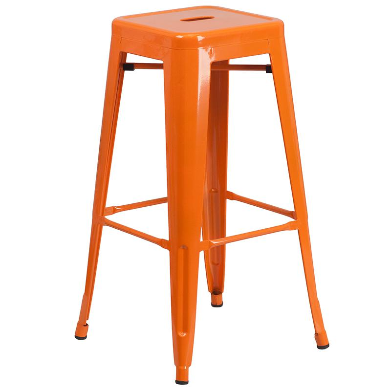 """Commercial Grade 24"""" Round Orange Metal Indoor-Outdoor Bar Table Set with 2 Square Seat Backless Stools [CH-51080BH-2-30SQST-OR-GG]. Picture 3"""