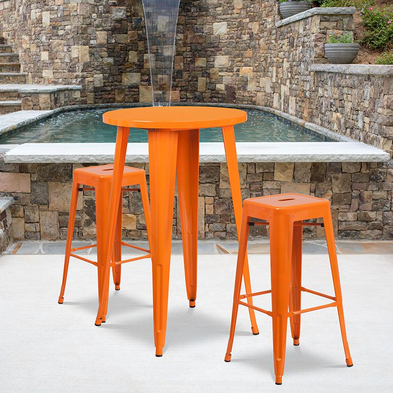 """Commercial Grade 24"""" Round Orange Metal Indoor-Outdoor Bar Table Set with 2 Square Seat Backless Stools [CH-51080BH-2-30SQST-OR-GG]. Picture 4"""