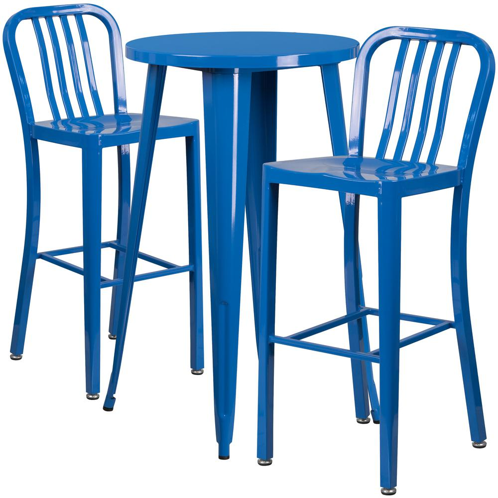 """Commercial Grade 24"""" Round Blue Metal Indoor-Outdoor Bar Table Set with 2 Vertical Slat Back Stools [CH-51080BH-2-30VRT-BL-GG]. Picture 1"""