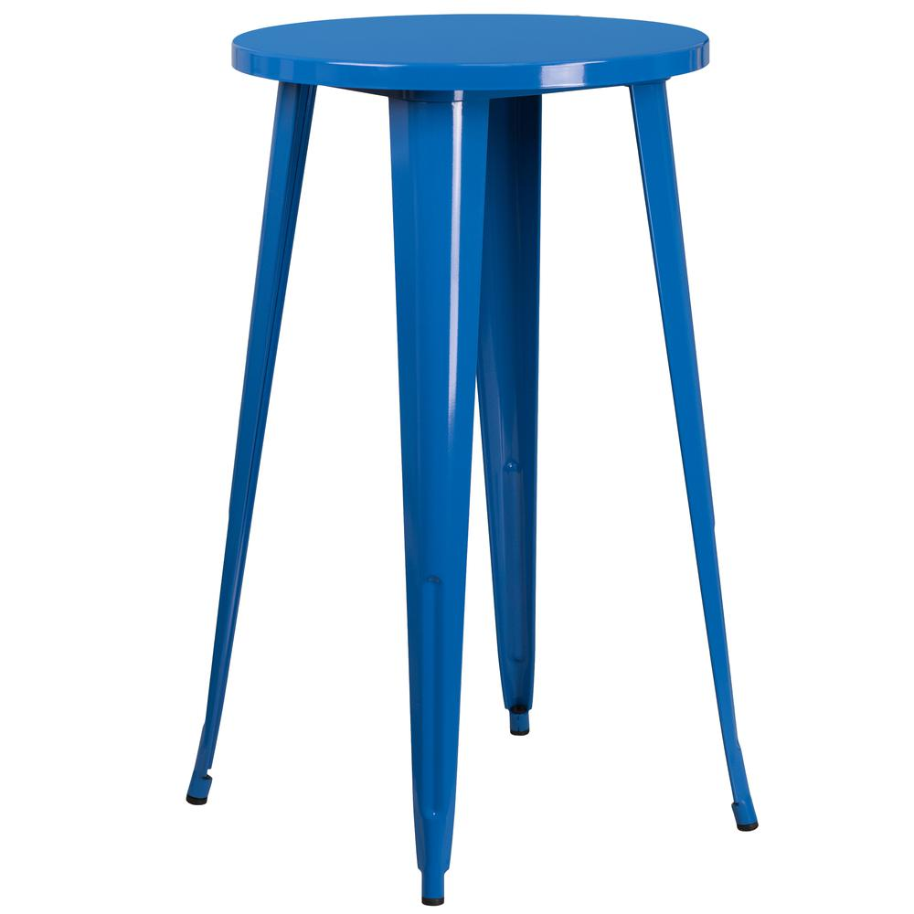 """Commercial Grade 24"""" Round Blue Metal Indoor-Outdoor Bar Table Set with 2 Vertical Slat Back Stools [CH-51080BH-2-30VRT-BL-GG]. Picture 2"""