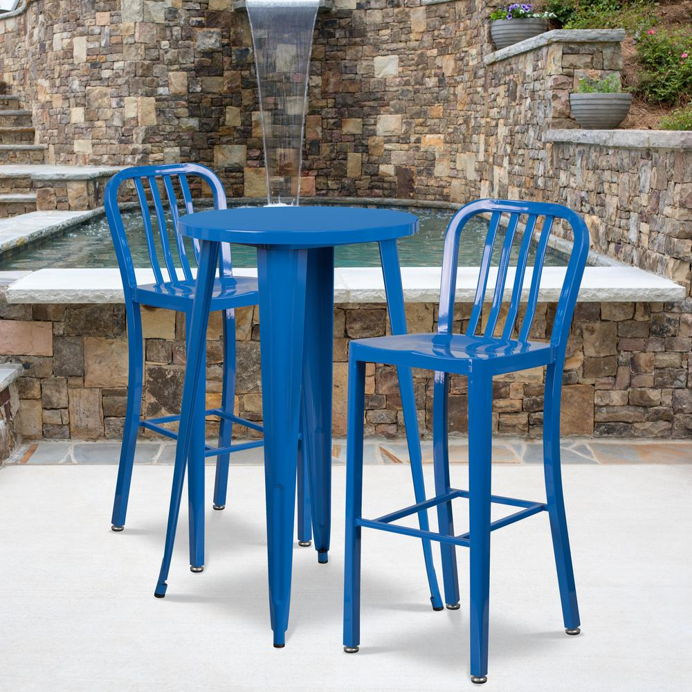 """Commercial Grade 24"""" Round Blue Metal Indoor-Outdoor Bar Table Set with 2 Vertical Slat Back Stools [CH-51080BH-2-30VRT-BL-GG]. Picture 4"""