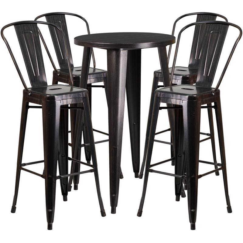 """Commercial Grade 24"""" Round Black-Antique Gold Metal Indoor-Outdoor Bar Table Set with 4 Cafe Stools [CH-51080BH-4-30CAFE-BQ-GG]. Picture 1"""