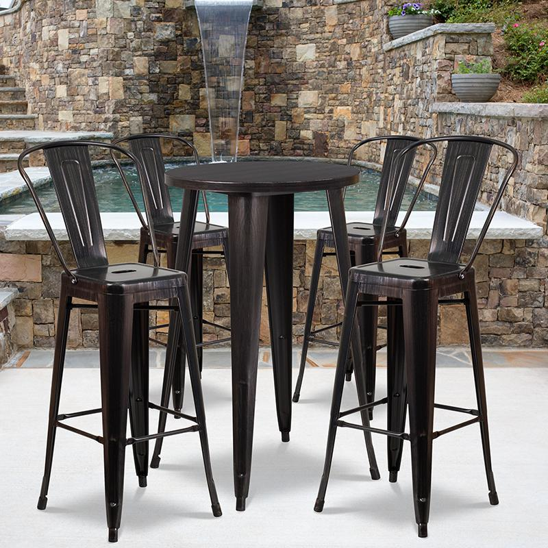 """Commercial Grade 24"""" Round Black-Antique Gold Metal Indoor-Outdoor Bar Table Set with 4 Cafe Stools [CH-51080BH-4-30CAFE-BQ-GG]. Picture 4"""
