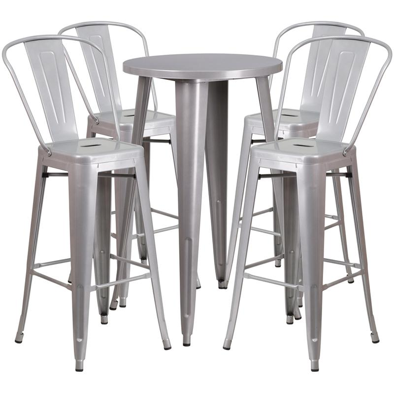 "Commercial Grade 24"" Round Silver Metal Indoor-Outdoor Bar Table Set with 4 Cafe Stools [CH-51080BH-4-30CAFE-SIL-GG]. Picture 1"