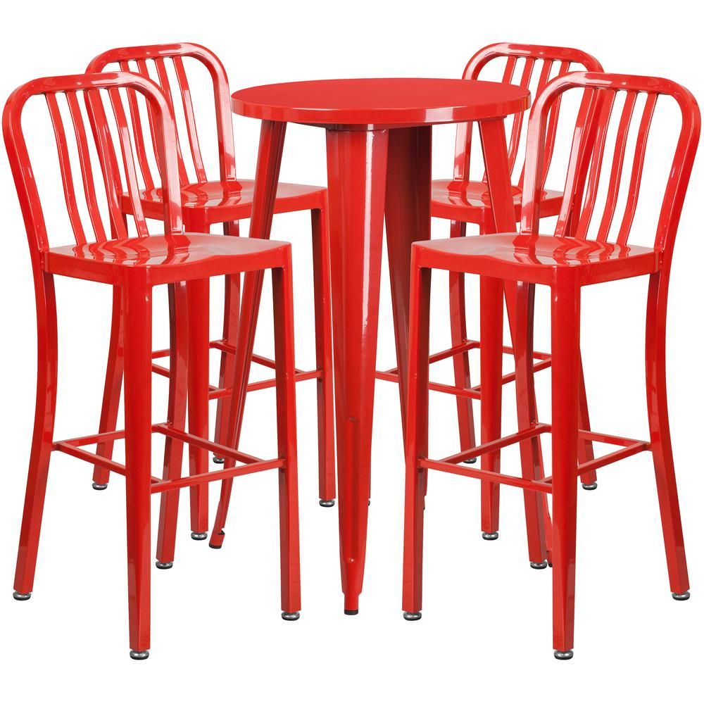 "Commercial Grade 24"" Round Red Metal Indoor-Outdoor Bar Table Set with 4 Vertical Slat Back Stools [CH-51080BH-4-30VRT-RED-GG]. Picture 1"