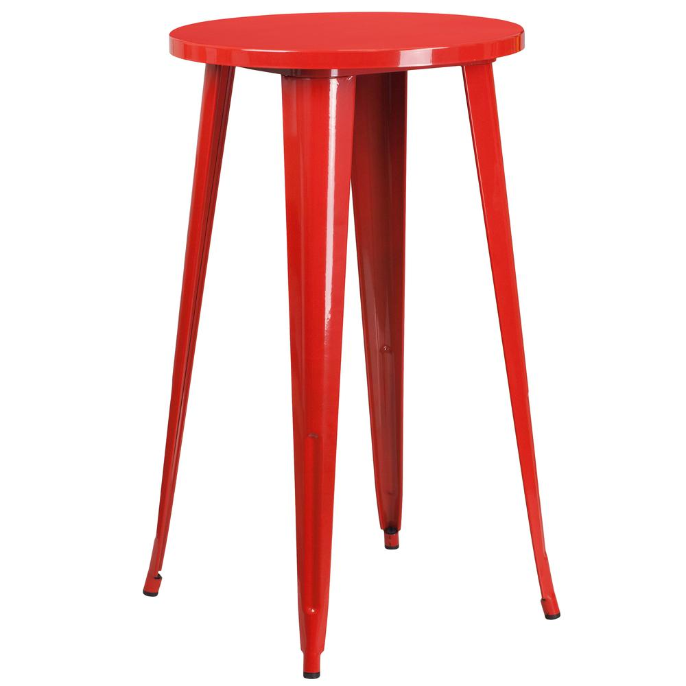 "Commercial Grade 24"" Round Red Metal Indoor-Outdoor Bar Table Set with 4 Vertical Slat Back Stools [CH-51080BH-4-30VRT-RED-GG]. Picture 2"