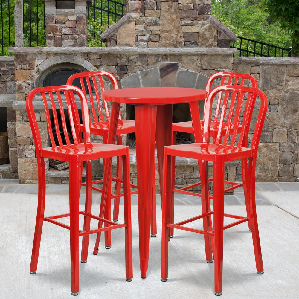 "Commercial Grade 24"" Round Red Metal Indoor-Outdoor Bar Table Set with 4 Vertical Slat Back Stools [CH-51080BH-4-30VRT-RED-GG]. Picture 4"