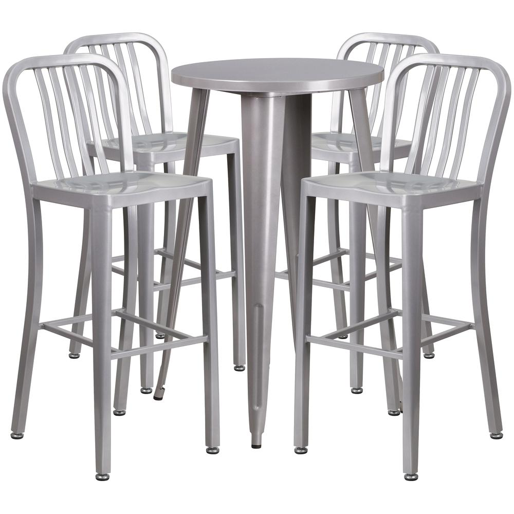 "Commercial Grade 24"" Round Silver Metal Indoor-Outdoor Bar Table Set with 4 Vertical Slat Back Stools [CH-51080BH-4-30VRT-SIL-GG]. Picture 1"