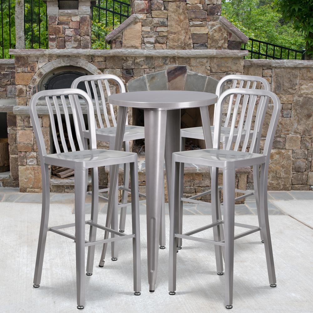 "Commercial Grade 24"" Round Silver Metal Indoor-Outdoor Bar Table Set with 4 Vertical Slat Back Stools [CH-51080BH-4-30VRT-SIL-GG]. Picture 4"
