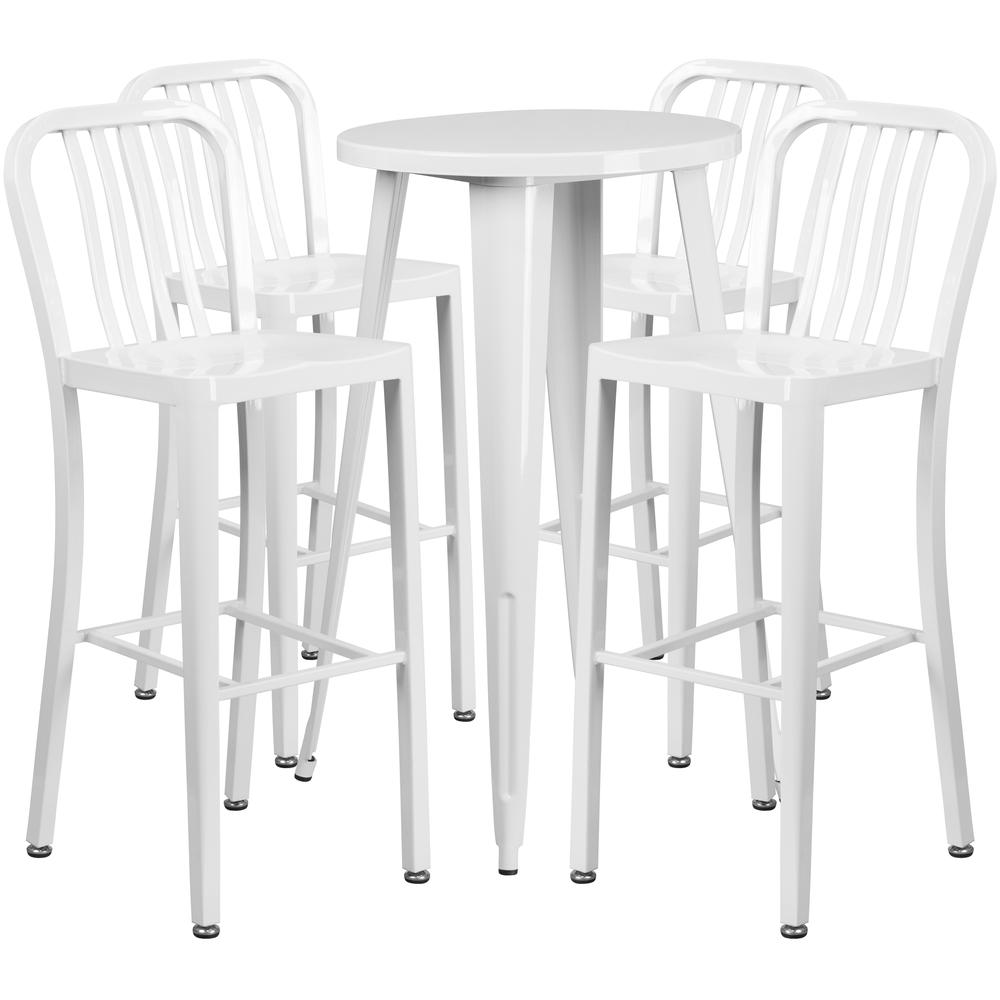 "Commercial Grade 24"" Round White Metal Indoor-Outdoor Bar Table Set with 4 Vertical Slat Back Stools [CH-51080BH-4-30VRT-WH-GG]. Picture 1"