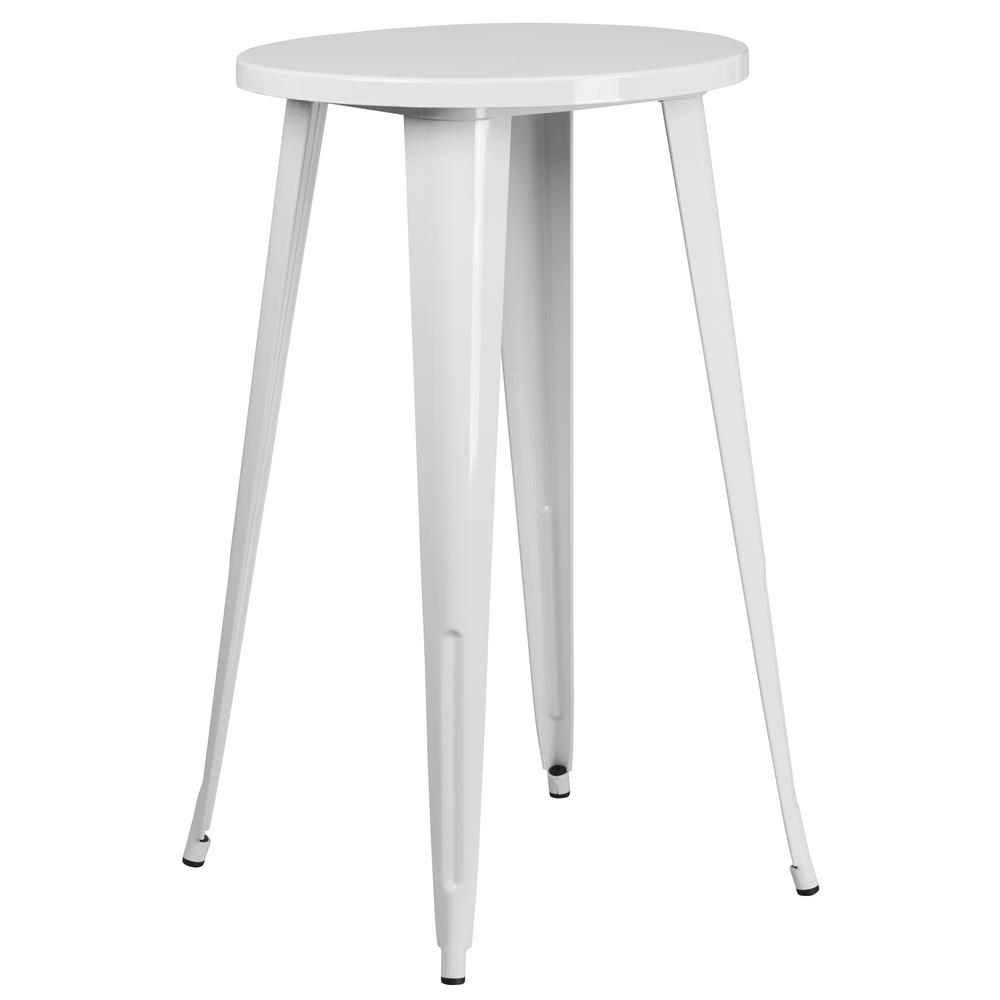 "Commercial Grade 24"" Round White Metal Indoor-Outdoor Bar Table Set with 4 Vertical Slat Back Stools [CH-51080BH-4-30VRT-WH-GG]. Picture 2"