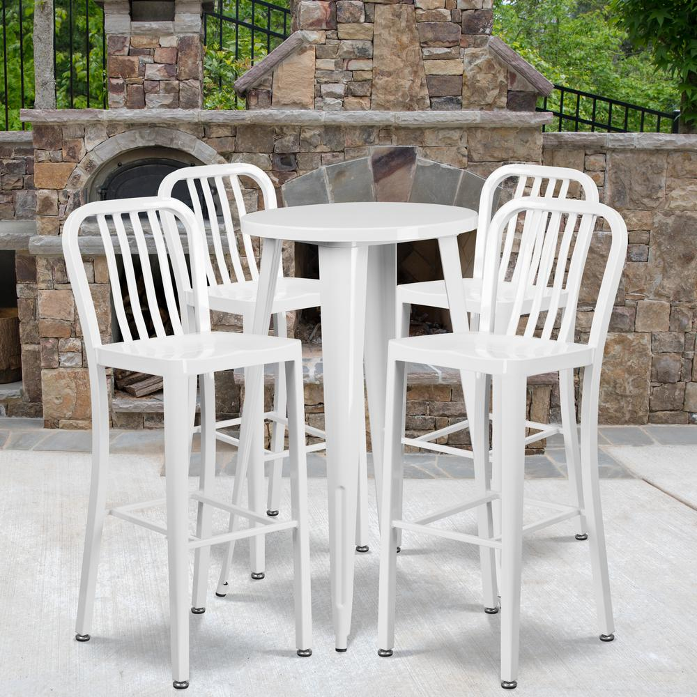 "Commercial Grade 24"" Round White Metal Indoor-Outdoor Bar Table Set with 4 Vertical Slat Back Stools [CH-51080BH-4-30VRT-WH-GG]. Picture 4"