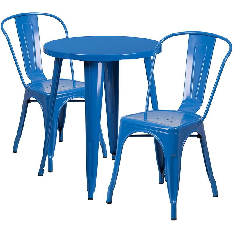 "Commercial Grade 24"" Round Blue Metal Indoor-Outdoor Table Set with 2 Cafe Chairs [CH-51080TH-2-18CAFE-BL-GG]. Picture 1"
