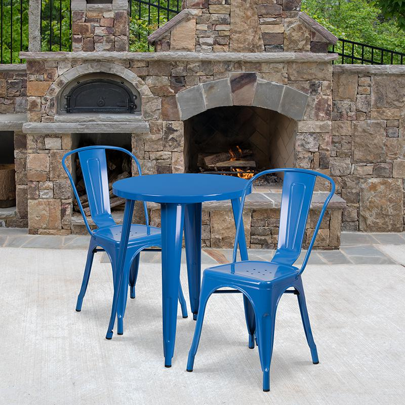 "Commercial Grade 24"" Round Blue Metal Indoor-Outdoor Table Set with 2 Cafe Chairs [CH-51080TH-2-18CAFE-BL-GG]. Picture 4"
