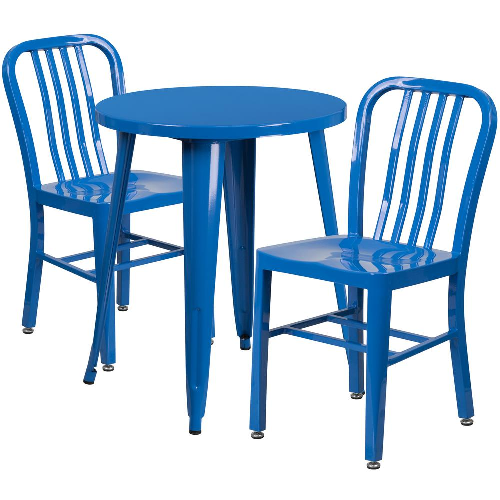 """Commercial Grade 24"""" Round Blue Metal Indoor-Outdoor Table Set with 2 Vertical Slat Back Chairs [CH-51080TH-2-18VRT-BL-GG]. Picture 1"""