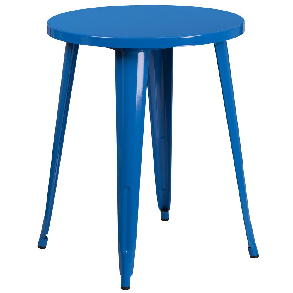 """Commercial Grade 24"""" Round Blue Metal Indoor-Outdoor Table Set with 2 Vertical Slat Back Chairs [CH-51080TH-2-18VRT-BL-GG]. Picture 2"""