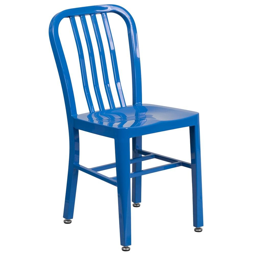 """Commercial Grade 24"""" Round Blue Metal Indoor-Outdoor Table Set with 2 Vertical Slat Back Chairs [CH-51080TH-2-18VRT-BL-GG]. Picture 3"""