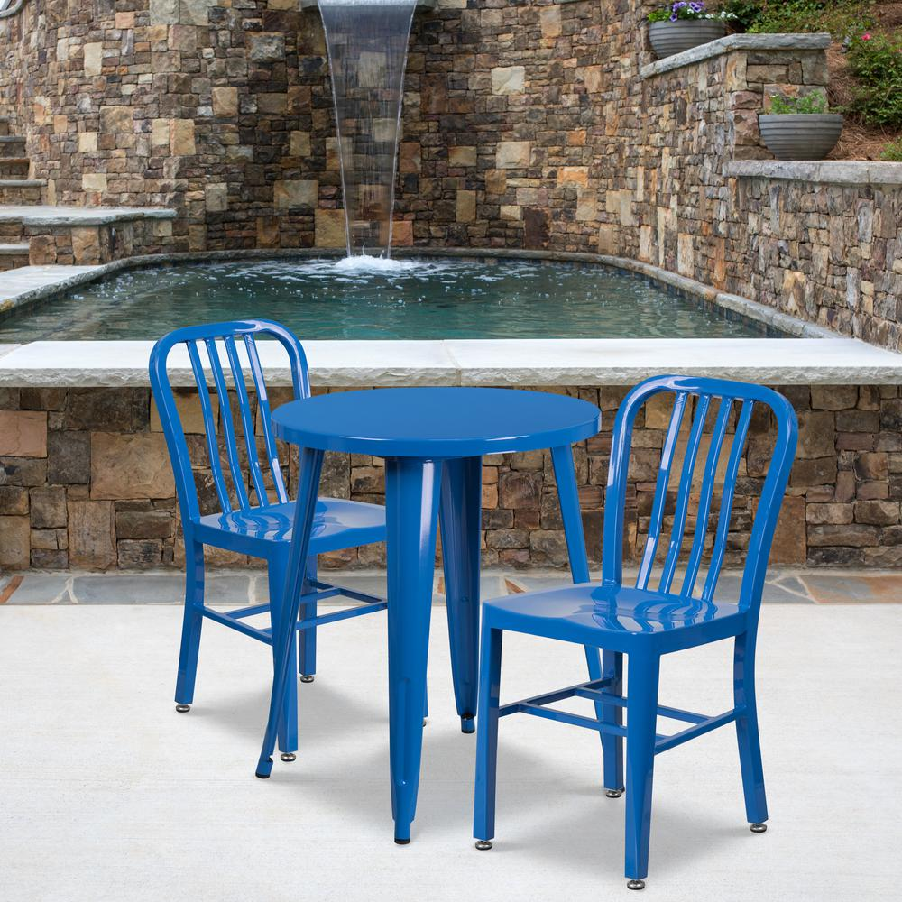 """Commercial Grade 24"""" Round Blue Metal Indoor-Outdoor Table Set with 2 Vertical Slat Back Chairs [CH-51080TH-2-18VRT-BL-GG]. Picture 4"""