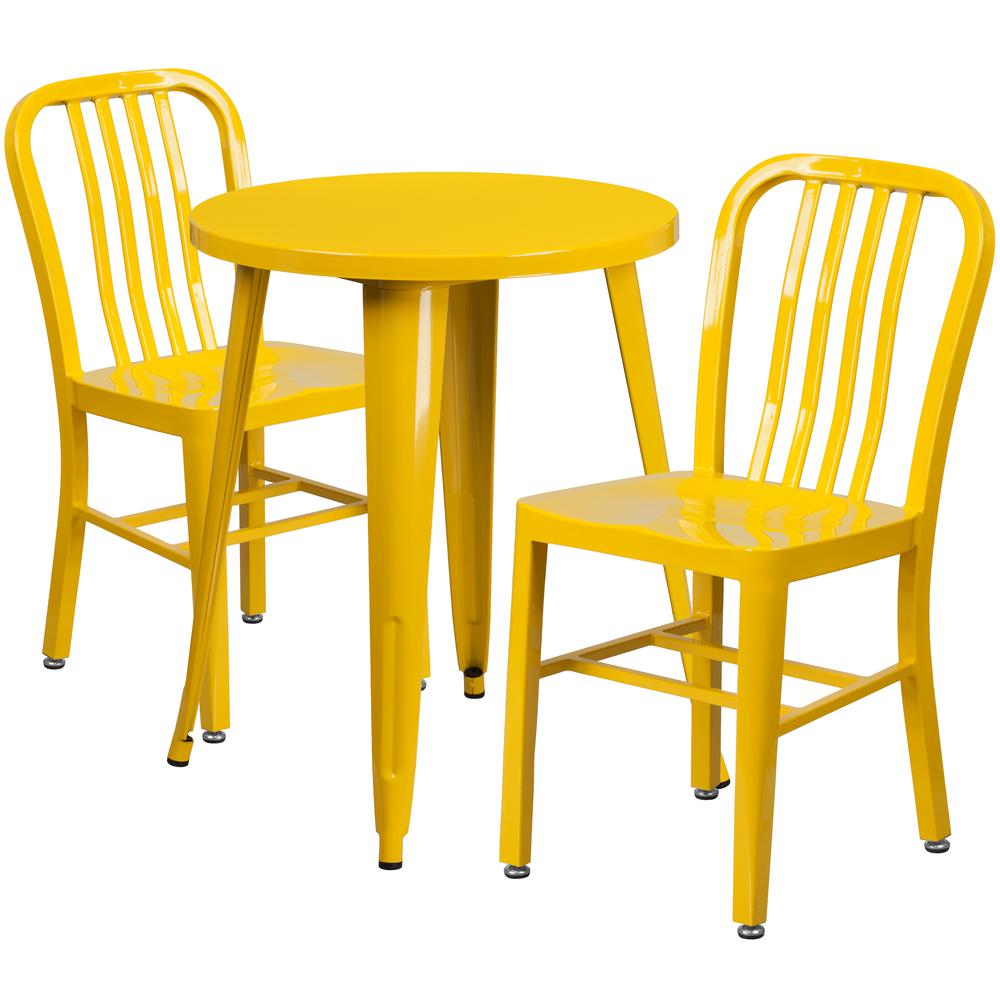 """Commercial Grade 24"""" Round Yellow Metal Indoor-Outdoor Table Set with 2 Vertical Slat Back Chairs [CH-51080TH-2-18VRT-YL-GG]. Picture 1"""