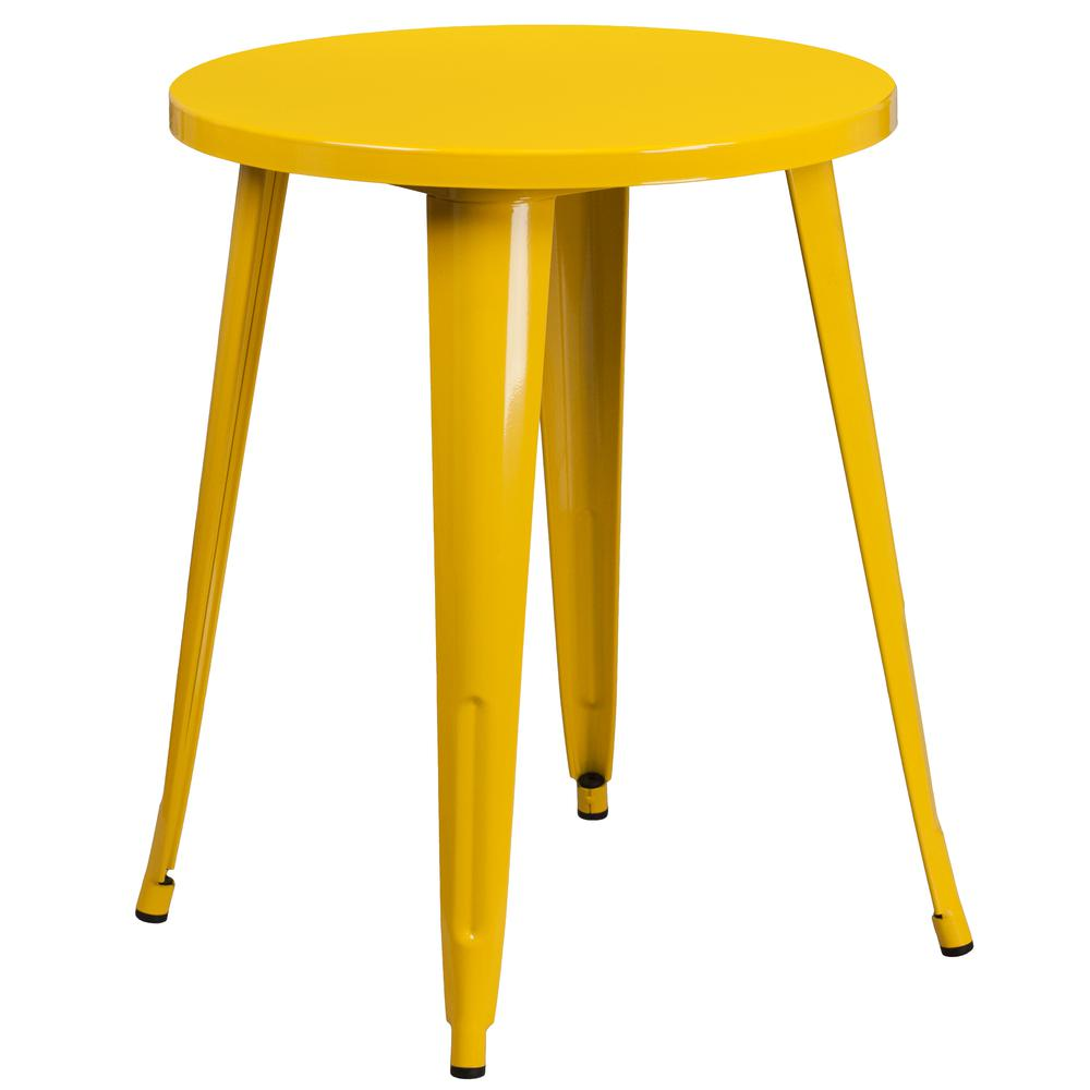 """Commercial Grade 24"""" Round Yellow Metal Indoor-Outdoor Table Set with 2 Vertical Slat Back Chairs [CH-51080TH-2-18VRT-YL-GG]. Picture 2"""