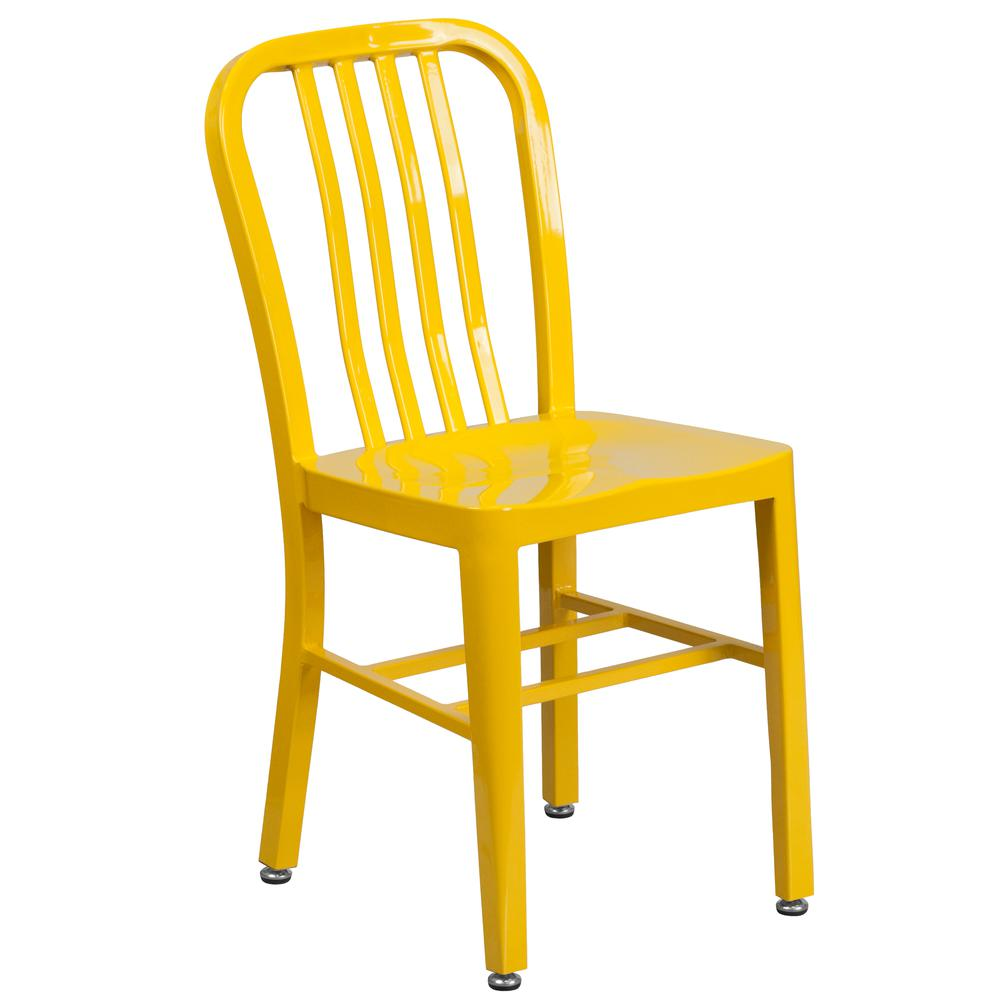 """Commercial Grade 24"""" Round Yellow Metal Indoor-Outdoor Table Set with 2 Vertical Slat Back Chairs [CH-51080TH-2-18VRT-YL-GG]. Picture 3"""