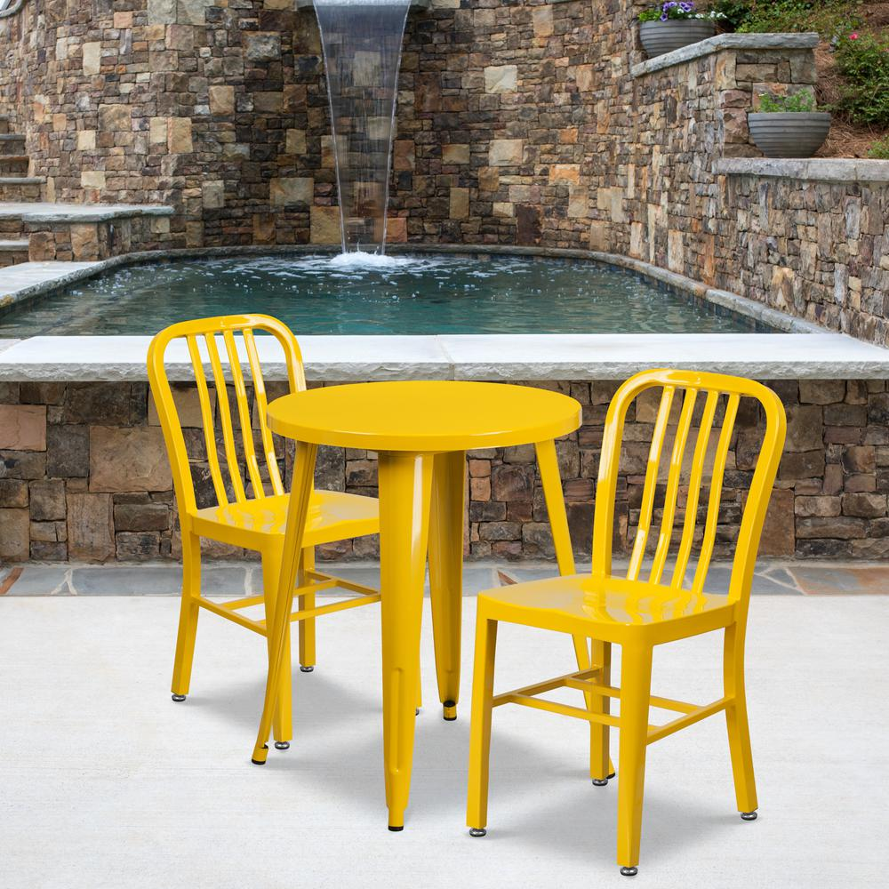 """Commercial Grade 24"""" Round Yellow Metal Indoor-Outdoor Table Set with 2 Vertical Slat Back Chairs [CH-51080TH-2-18VRT-YL-GG]. Picture 4"""