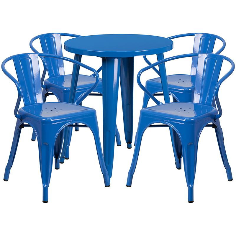 """Commercial Grade 24"""" Round Blue Metal Indoor-Outdoor Table Set with 4 Arm Chairs [CH-51080TH-4-18ARM-BL-GG]. Picture 1"""