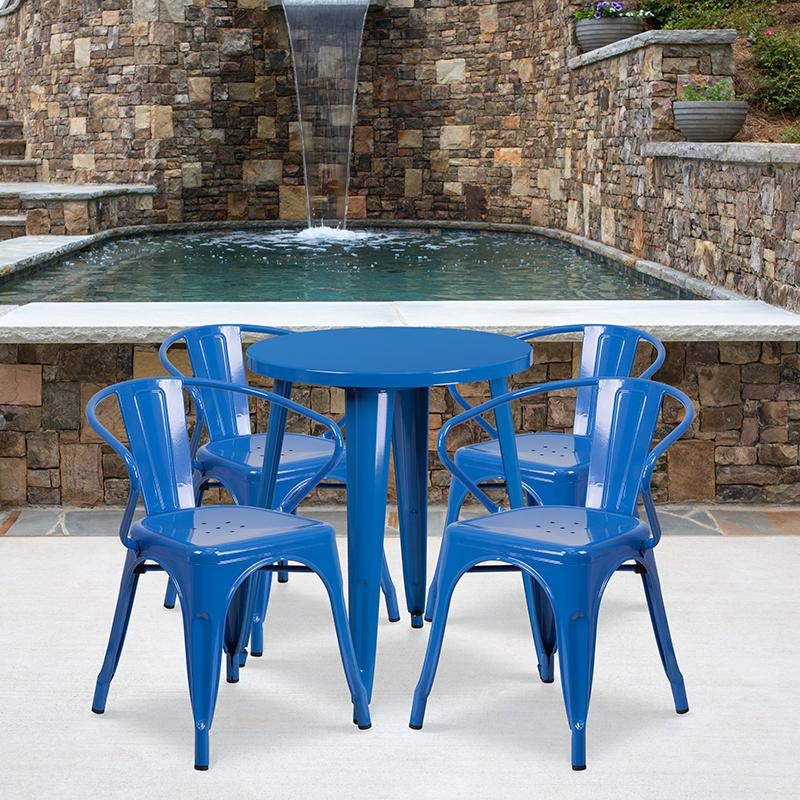 """Commercial Grade 24"""" Round Blue Metal Indoor-Outdoor Table Set with 4 Arm Chairs [CH-51080TH-4-18ARM-BL-GG]. Picture 4"""