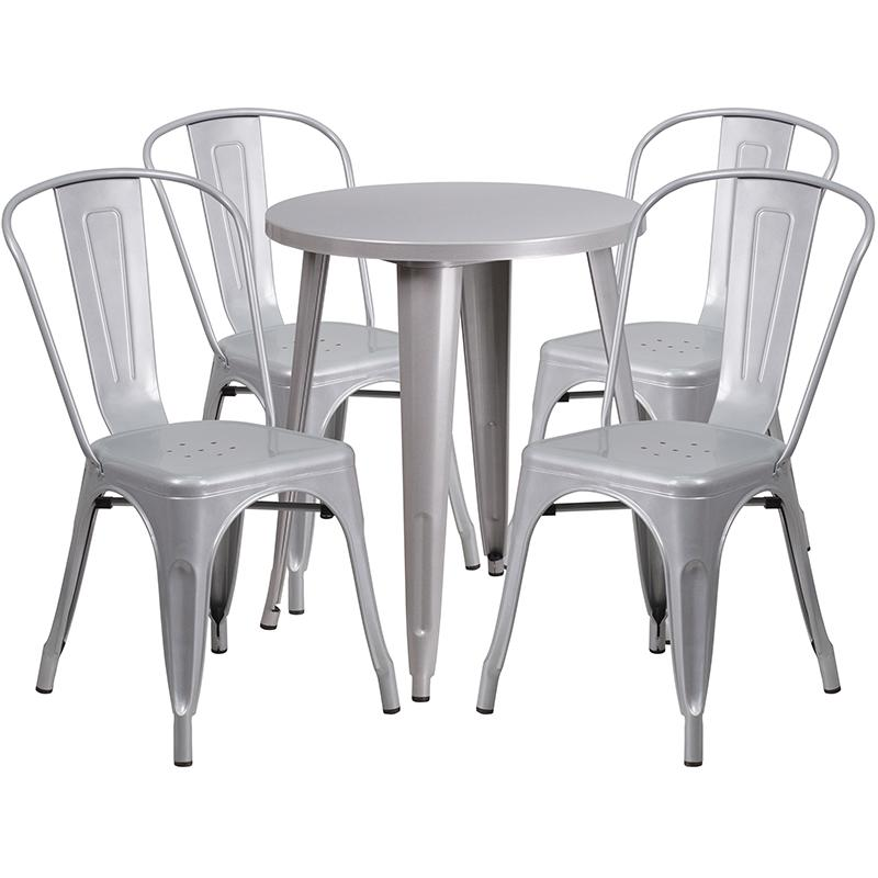 "Commercial Grade 24"" Round Silver Metal Indoor-Outdoor Table Set with 4 Cafe Chairs [CH-51080TH-4-18CAFE-SIL-GG]. Picture 1"