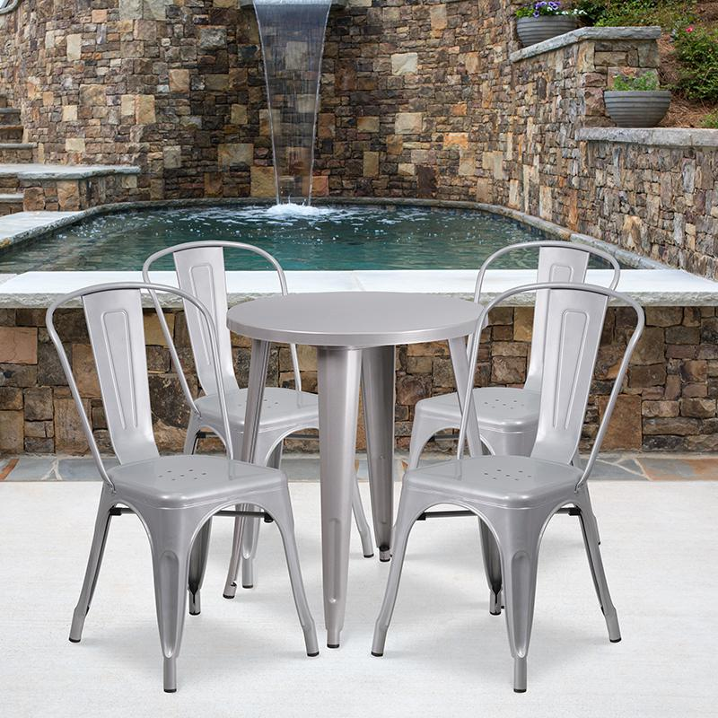 "Commercial Grade 24"" Round Silver Metal Indoor-Outdoor Table Set with 4 Cafe Chairs [CH-51080TH-4-18CAFE-SIL-GG]. Picture 4"