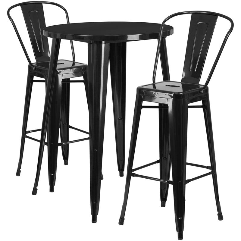 """Commercial Grade 30"""" Round Black Metal Indoor-Outdoor Bar Table Set with 2 Cafe Stools [CH-51090BH-2-30CAFE-BK-GG]. Picture 1"""