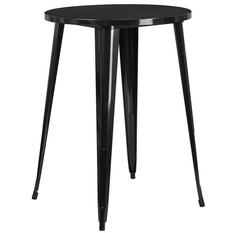 """Commercial Grade 30"""" Round Black Metal Indoor-Outdoor Bar Table Set with 2 Cafe Stools [CH-51090BH-2-30CAFE-BK-GG]. Picture 2"""