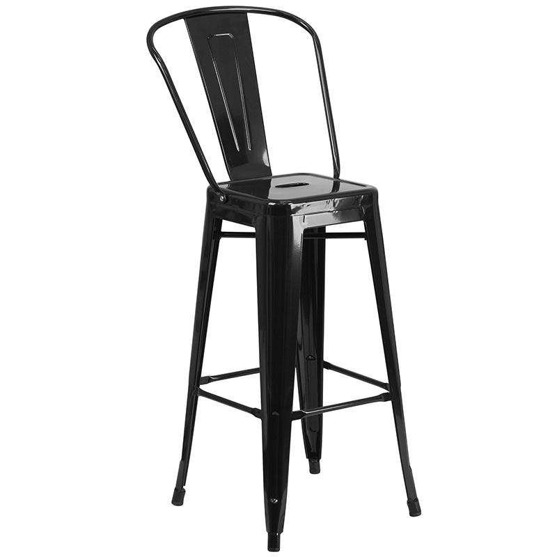"""Commercial Grade 30"""" Round Black Metal Indoor-Outdoor Bar Table Set with 2 Cafe Stools [CH-51090BH-2-30CAFE-BK-GG]. Picture 3"""