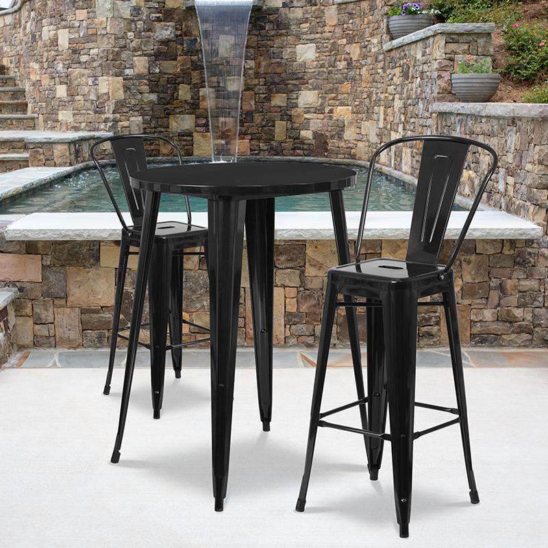 """Commercial Grade 30"""" Round Black Metal Indoor-Outdoor Bar Table Set with 2 Cafe Stools [CH-51090BH-2-30CAFE-BK-GG]. Picture 4"""