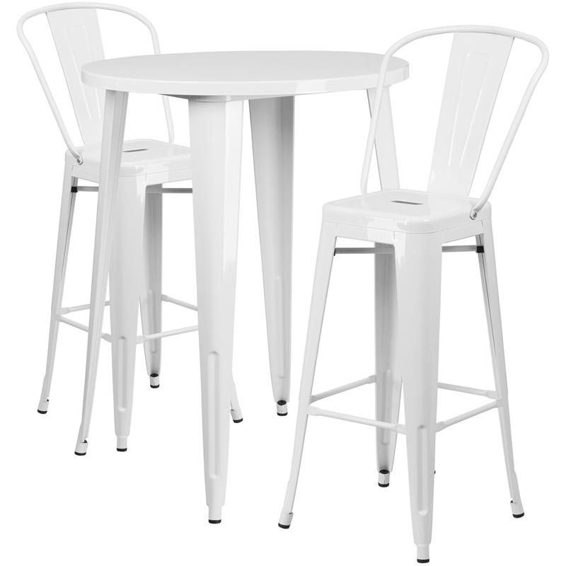 """Commercial Grade 30"""" Round White Metal Indoor-Outdoor Bar Table Set with 2 Cafe Stools [CH-51090BH-2-30CAFE-WH-GG]. Picture 1"""