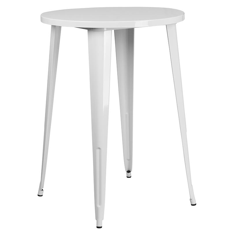 """Commercial Grade 30"""" Round White Metal Indoor-Outdoor Bar Table Set with 2 Cafe Stools [CH-51090BH-2-30CAFE-WH-GG]. Picture 2"""