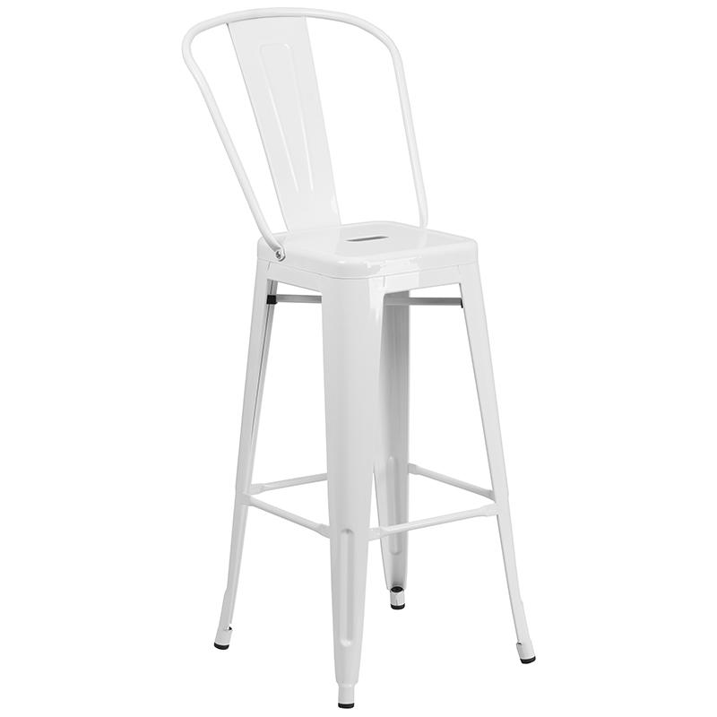 """Commercial Grade 30"""" Round White Metal Indoor-Outdoor Bar Table Set with 2 Cafe Stools [CH-51090BH-2-30CAFE-WH-GG]. Picture 3"""