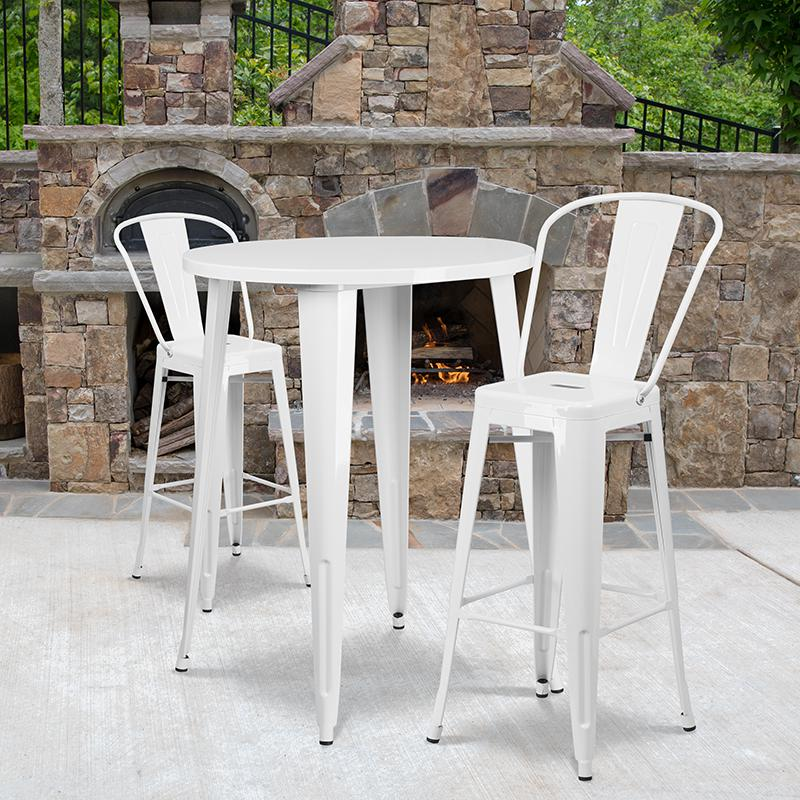 """Commercial Grade 30"""" Round White Metal Indoor-Outdoor Bar Table Set with 2 Cafe Stools [CH-51090BH-2-30CAFE-WH-GG]. Picture 4"""