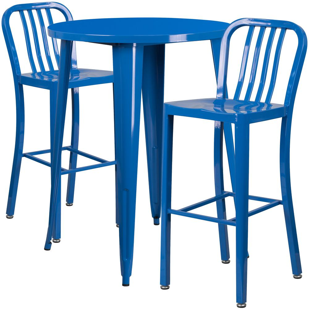 """Commercial Grade 30"""" Round Blue Metal Indoor-Outdoor Bar Table Set with 2 Vertical Slat Back Stools [CH-51090BH-2-30VRT-BL-GG]. Picture 1"""