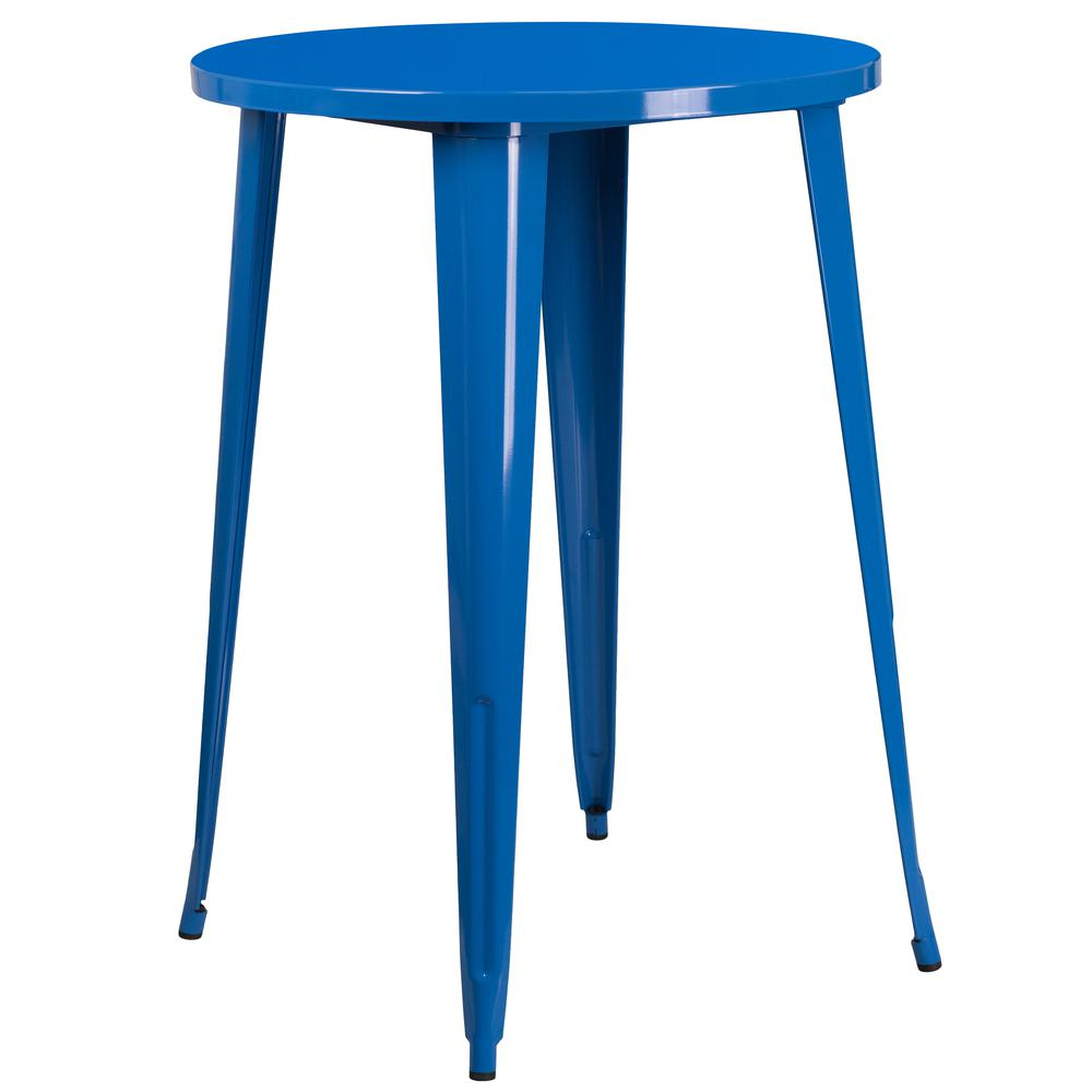 """Commercial Grade 30"""" Round Blue Metal Indoor-Outdoor Bar Table Set with 2 Vertical Slat Back Stools [CH-51090BH-2-30VRT-BL-GG]. Picture 2"""