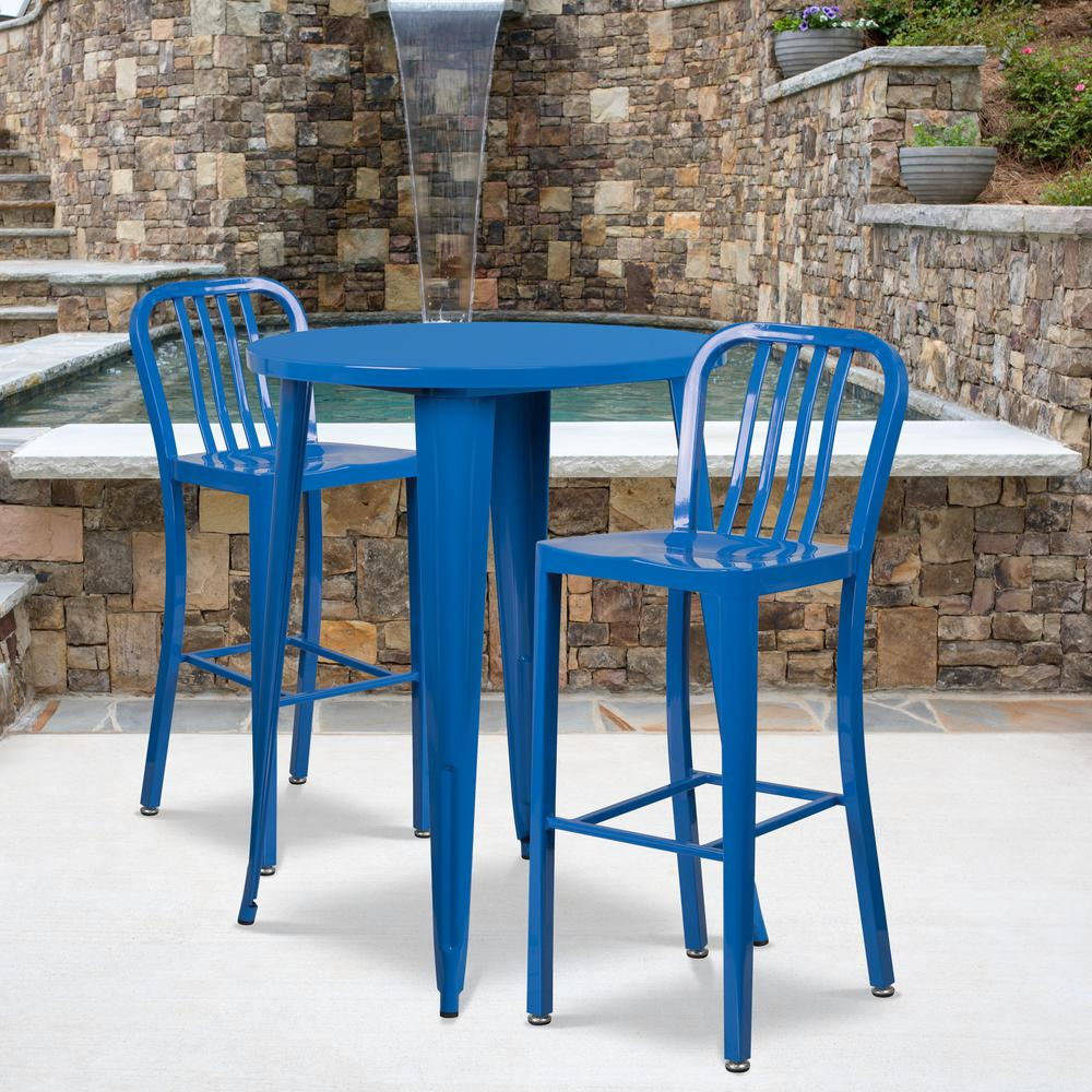 """Commercial Grade 30"""" Round Blue Metal Indoor-Outdoor Bar Table Set with 2 Vertical Slat Back Stools [CH-51090BH-2-30VRT-BL-GG]. Picture 4"""