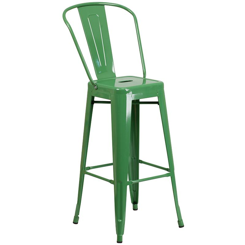 """Commercial Grade 30"""" Round Green Metal Indoor-Outdoor Bar Table Set with 4 Cafe Stools [CH-51090BH-4-30CAFE-GN-GG]. Picture 3"""